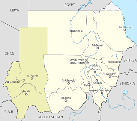 Darfurin alue Sudanissa. Kartta: commons.wikimedia.org By Sudan location map.svg: NordNordWestMap of Darfur-en.png CC BY-SA 3.0