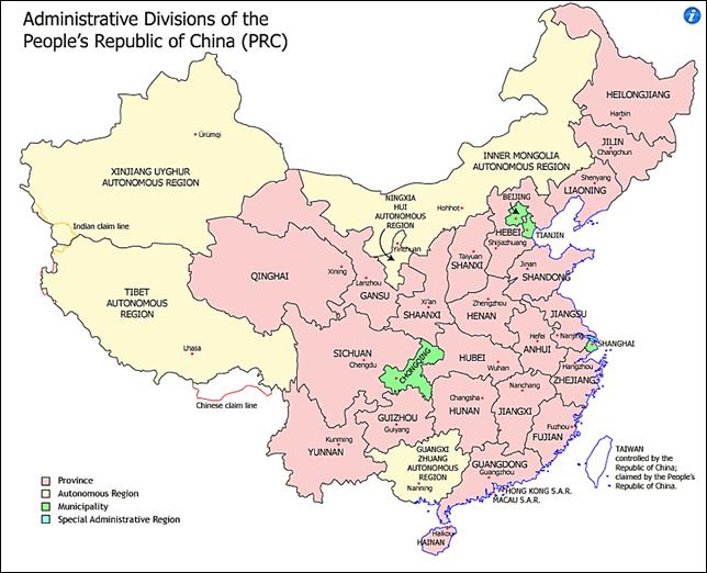 Kiinan hallinnollinen jako. Kuvalähde: https://en.wikipedia.org/wiki/Administrative_divisions_of_China#Provincial_level