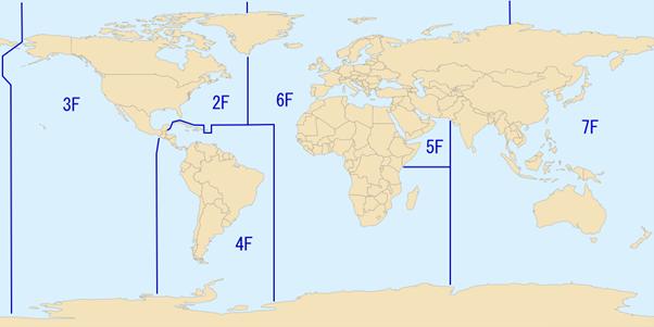 Yhdysvaltojen merivoimien numeroitujen laivastojen operaatio- ja vastuualueet. Esim. 7. Laivaston (7th Fleet) esikunta johtaa operaatiot läntisellä Tyynellämerellä ja Intian valtamerellä. Kuvalähde: commons.wikimedia.org, Public Domain